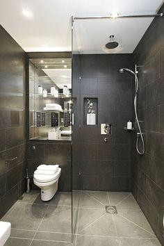 Bathroom Marble Granite. Mirror in shelving alcove