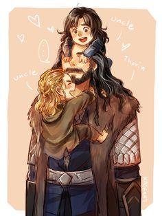 Thorin and baby Kili and Fili