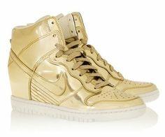 Nike Dunk Sky Hi metallic leather wedge sneakers 031b9d6de4730