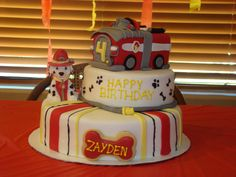 Paw Patrol Marshall birthday cake! Will would go crazy if I could figure out how to do this....