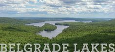 The View from French's Mountain hiking trails over the lakes of the Belgrade area in Maine.