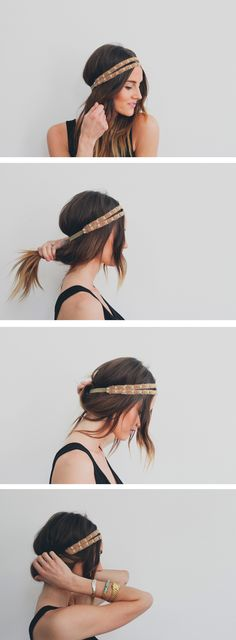 Boho headband messy updo ponytail 15 Easy Summer Hairstyles That Will Keep You Cool As A Cucumber