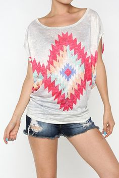 Taupe and Coral Pink Aztec Print Dolman Top