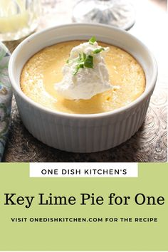All the flavors you love in a key lime pie can be found in this Key Lime Pie For One! Smooth and creamy with the perfect balance of tart and sweet. Baked in a ramekin or small baking dish, this classic pie comes complete with a buttery graham cracker crust. So easy to make!