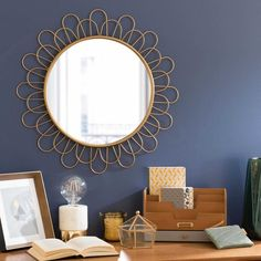 Runder Spiegel aus Metall D 60 cm FLOWER CAVENDISH