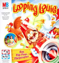 """Loopin' Louie - """"As Louie flies around and nears your coup, you must elevate him by wacking him with your paddle... He may do loops and change direction wildly, or simply loft up a bit, just clearing your opponents paddle and scoring a hit on their chicken"""""""