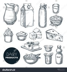 Find Dairy Farm Fresh Products Set Vector stock images in HD and millions of other royalty-free stock photos, illustrations and vectors in the Shutterstock collection. 3d Art Drawing, Food Drawing, Drawing Sketches, Milk Drawing, Ink Pen Drawings, Cute Drawings, Vector Hand, Vector Stock, Yogurt Packaging