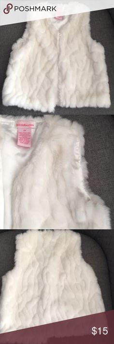 Design History Faux Fur Vest Cream Faux Fur Vest, 3T Design History Jackets & Coats Vests