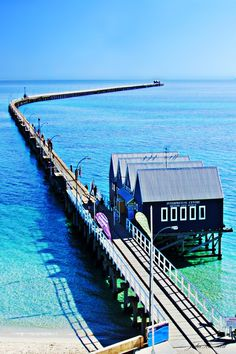 Busselton Jetty, Western Australia - the longest wooden jetty in the southern hemisphere, stretching almost out to sea. Walked this jetty many times :) Places Around The World, Oh The Places You'll Go, Great Places, Places To Travel, Beautiful Places, Places To Visit, Around The Worlds, Tasmania, Perth Western Australia