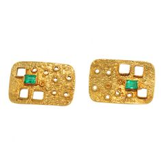 Unique 1960's Gold and Emerald Cufflinks - Wayne Smith Jewels