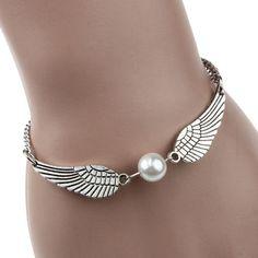 2015 новое поступление серебро бесконечность ретро жемчужина крылья ангела ювелирных изделий голубя мира браслет бесплатная доставка и оптовая продажа
