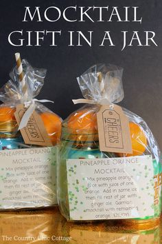 Make this mocktail gift in a jar for any occasion!  A fun gift set that includes a free printable recipe!