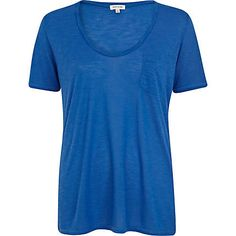 Blue marl low scoop t-shirt - plain t-shirts / vests - t shirts / vests / sweats - women