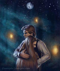 Han and Leia on Endor art Star Wars Fan Art, Star Trek, Han Solo Leia, Han And Leia, Star War 3, Love Stars, Reylo, Far Away, Pop Culture