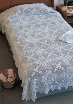 Crochet square motifs bedspread ♥LCB-MRS♥ with diagram.