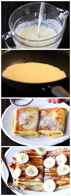 Salted Caramel Banana Blintzes (RECIPE HERE) Ingredients 1 cup cottage cheese 1 half block (4 oz.) cream cheese, softened 1/4 cup sugar 1/2 tsp. vanilla extract 3/4 cup flour 1/4 tsp. salt 1 cup milk 3 eggs 1/4 cup butter, melted and cooled (divided) 4 bananas, sliced 1/4 cup powdered sugar (optional) 1/2 cup caramel sauce, storebought or homemade pinch sea salt