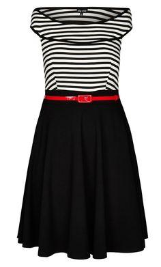City Chic - OFF SHOULDER STRIPE DRESS - Women's Plus Size Fashion