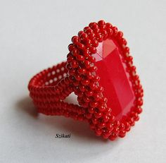 Beaded red ring cocktail ring seed bead ring OOAK by Szikati, $30.00