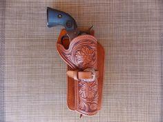 Floral carved western holster
