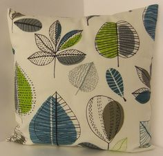 NEW SINGLE CUSHION COVERS  RETRO 60s STYLE GREEN BLUE GREY BROWN LEAVES