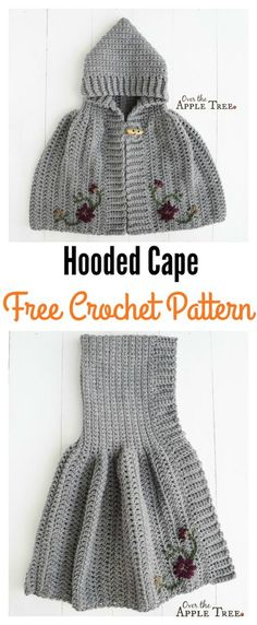 Crochet Hooded Cape Free Pattern for Girl. Free children's crochet pattern.