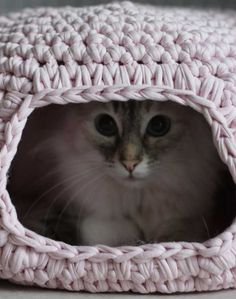 Do you want to make a great hiding place for your cat? Try to crochet this cat cave. It's easy (even for beginner) to crochet and will definitely make her/him very happy, A neat pattern of Crochet Cat's Cave can be found here.
