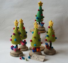 Tis the season! This light green needle felted Christmas tree will add colour to your house and give you that special holiday cheer.  Each tree is around 18-20 cm, or 7-8 tall, and stands on a wooden base. It has needle felted baubles, presents at the base, and a star on top. This decoration comes with internal wiring, so you can make small delicate adjustments to make sure its straight (or not, if thats your fancy).  The colour of this tree is accurate on my computer, but please bear in…