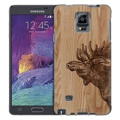 Samsung Galaxy Note 4 Sketched Moose on Wood Trans Case