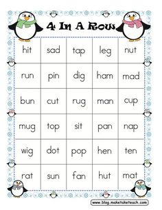 Four In A Row Winter Themed Freebie - Make Take & Teach - Free game board for decoding CVC words. Phonics Words, Cvc Words, Kindergarten Language Arts, Kindergarten Literacy, Teaching Reading, Reading Skills, Reading Games, Learning, Sight Word Activities
