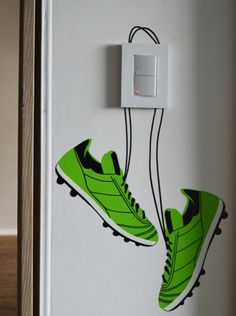 Soccer Shoes Mia Decor Soccer Fans Like Me Would Love This Boys Football Bedroom, Football Rooms, Boys Bedroom Decor, Bedroom Themes, Girls Bedroom, Bedroom Ideas, Soccer Decor, Kids Room Murals, Home Goods Decor