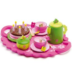 Djeco - Birthday Party Tea Time Tea Set: This sweet wooden birthday tea party set from Djeco encourages imaginative play. With everything she could need for a fabulous birthday gathering with friends she's sure to be the host with the most in no time. Afternoon Tea Set, Childrens Tea Sets, Teddy Bear Birthday, Tea Party Setting, Party Trays, Tea Party Birthday, Birthday Cake, Pink Birthday, Birthday Candles