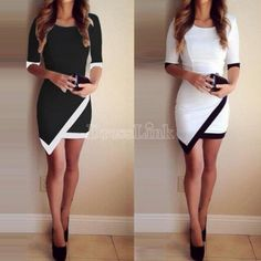 Women Fashion Half Sleeve Ladies Asymmetric Casual Dress White & Black Patchwork Elegant Dresses Bodycon Pencil Short Mini Dress