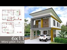 Small Home Design Plan with 3 Bedrooms. This villa is modeling by SAM-ARCHITECT With 2 stories level. It's has 3 bedrooms. Simple Home Design description: Ground floor: -Two Car P… Two Storey House Plans, Duplex House Plans, House Layout Plans, Bedroom House Plans, Modern House Plans, Small House Plans, House Layouts, Two Story House Design, 2 Storey House Design