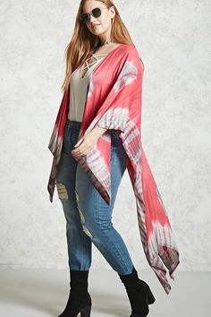 Forever 21+ - A lightweight shawl featuring tie-dye print and trim, an open front and sides, 3/4 sleeves, a high-low hem, and a draped silhouette.