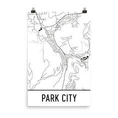 Park City Map Art Print, Park City Utah Art Poster, Park City Wall Art, Map of Park City, Park City Print, Park City Art, Poster, Gift