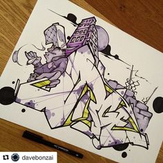 Fantastic graffiti by @davebonzai Use #graphmastermarker for a chance to get featured!