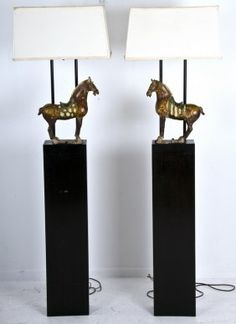 PAIR OF HAINES CHINESE TANG STYLE FLOOR LAMPS