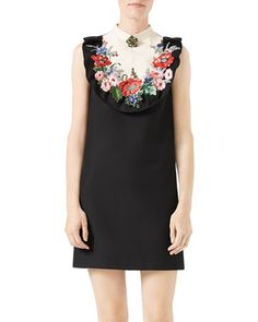 Floral-Embroidered+Cady+Crepe+Dress,+Black/White+by+Gucci+at+Bergdorf+Goodman.