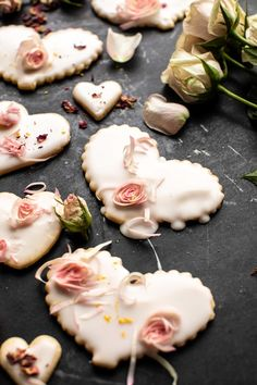 overhead close up photo of Lemon Rose Shortbread Cookies My Funny Valentine, Buttery Shortbread Cookies, Valentines Day Desserts, Valentine Recipes, Valentine Cookies, Pudding, Half Baked Harvest, Salted Butter, Chocolate Desserts