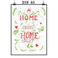 Poster DIN A0 Home Sweet Home aus Papier 160 Gramm  weiß - Das Original von Mr. & Mrs. Panda.  Jedes wunderschöne Poster aus dem Hause Mr. & Mrs. Panda ist mit Liebe handgezeichnet und entworfen. Wir liefern es sicher und schnell im Format DIN A0 zu dir nach Hause. Das Format ist 841 mm x 1189 mm.    Über unser Motiv Home Sweet Home  Am Schönsten ist es immer noch zuhause in den eigenen vier Wänden.     Verwendete Materialien  Es handelt sich um sehr hochwertiges und edles Papier in der…