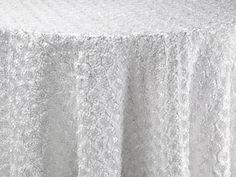White Corsage Table Linen | BBJ Linen  #B&W #black #white #palette #wedding #bbjlinen #bbjtablefashions