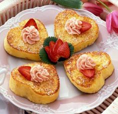 Valentine's Day Breakfast:  This Land O Lake's recipe for Heart-Shaped French Toast with Strawberry Butter looks amazing.