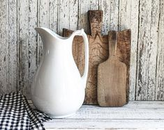 Antique White Ironstone Pitcher, J & G Meakin, Kitchen and Dining, Wedding Gift, Country Decor
