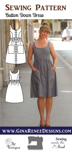 Love Button Down Dress Pattern; Midi Dress Pattern , Button Down Dress Pattern; Midi Dress Pattern Stylish and Sophisticated Button down dress pattern, Midi dress pattern by Gina Renee Designs. What a lo. Easy Sewing Projects, Sewing Projects For Beginners, Sewing Hacks, Sewing Tutorials, Sewing Tips, Dress Tutorials, Sewing Blogs, Knitting Projects, Sewing Crafts
