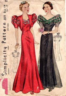 1930s Puff Sleeves Evening Dress & Bolero