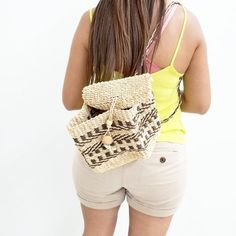 e75c30d67ce Awesome straw woven wicker backpack in natural light brown a - Depop  Natural Light