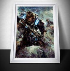 Gears of War Painting Print. Gears of War 4 Poster .  #painting #art #dustedpixels #bowie #ziggystardust #gameroom #titanfall #video #poster #overwatch