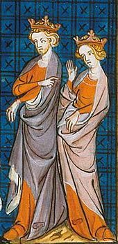 Henry II King of England (Reign: Dec 19, 1154 to July 6, 1189).  Henry was the son of Geoffrey of Anjou and Matilda, daughter of Henry I of England.  14th century depiction of Henry Fitzempress and Eleanor of Aquitaine.