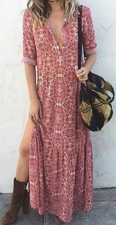 Sexy V Neck Floral Printed Side Split Vacation maxi dress maxi dress outfit maxi dress summer maxi dress casual floral maxi dress boho maxi dress Sexy Maxi Dress, Maxi Dress With Sleeves, Sexy Dresses, Casual Dresses, Short Sleeve Dresses, Long Sleeve, Dress Long, Dress Formal, Half Sleeves