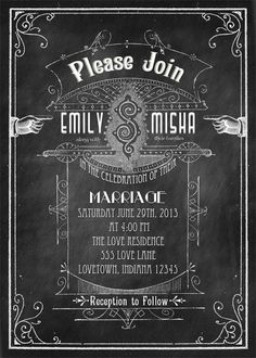 Old School - Printable DIY Chalkboard Art Deco Vintage Modern Wedding Invitation Suite - Victorian Typography  -  Personalized Invitation. $25.00, via Etsy.